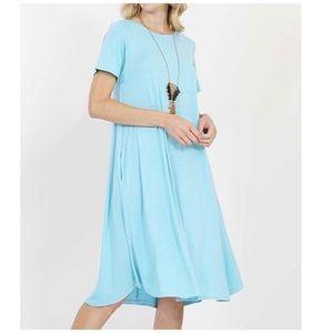 Baby Blue Crewneck Pocket Midi Dress 14-16W